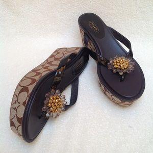Coach   Norice Wedge Patent Sandals